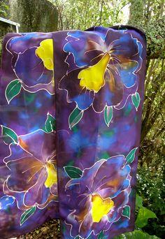 PURPLE ORCHID SCARF SATHERLEYSILKS PURE SILK HANDPAINTED www.satherleysilks.co.nz Purple Orchids, Pure Silk, Hand Painted, Pure Products, Prints
