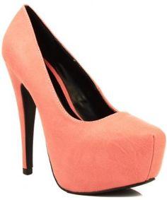 Qupid Penelope-83 Classic Platform Pumps - CORAL  #Pumps #shoes #Latest Styles  $25.00