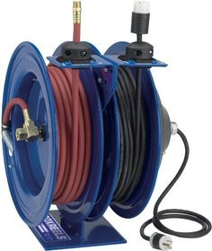 "Coxreels C-L350-5012-A Reel, Combination ,Spring Driven, 3/8"" Hose ID, 50' Length by Coxreels. $1001.30. Combination Reel, Air Hose/Electrical Cord, Spring Driven Drive Type, Reel Inlet 3/8 (F)NPT In, Hose Inside Dia 3/8 In, Hose Length 50 Ft, Hose Outlet 3/8 (M)NPT, Voltage 115 VAC, 1 Phase, 20 Amps, 12 Gauge, Number of Conductors 3, Cord Length 50 Ft, Grounded (NEMA) Plug Type, Single Industrial Receptacle Receptacle Type, Max Pressure 300 PSI, Max Temp 150 F, Mu..."