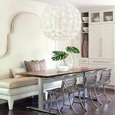 At Home in Arkansas - dining rooms - ivory, leather, banquette, salvaged wood, dining table, top, Rossy, chairs, ikea pendant, ikea chandelier, ps maskros, Ikea PS Maskros Pendant, F Schumacher Twiggy Silver Wallpaper, John Magee of M2 Gallery Banquette, John Magee of M2 Gallery Table Base,