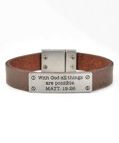 Another great find on #zulily! Brown 'MATT 19:26' Axesoria Bracelet by Galaxy Belts #zulilyfinds