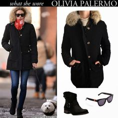 WHAT SHE WORE:Olivia Palermo in black hooded fur trim Woolrich ...