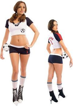 Football player costume fancy dress goalie girl outfit soccer