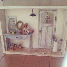 #ミニチュア#テディベア#シャビーシック#ハンドメード#miniture#miniature#teddybear#handmade  complete!  完成しました(≧∇≦)イカシテル!