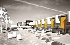 Reuse of ex industrial Area - Claudio nardi architecs - Exterior Render #architecture #italy #alghero #competition