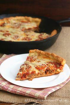Low Carb Gluten-Free Deep Dish Skillet Sausage Pizza