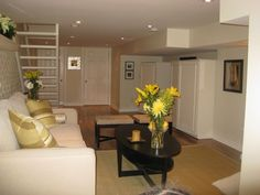 basement home office, this windowless basement was transformed