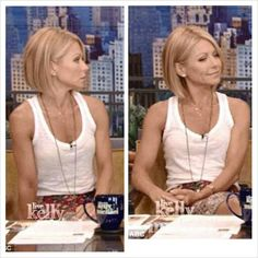 Kelly Ripa's new haircut. Thinking of going shorter. Kelly Ripa Haircut, Fine Hair, Great Hair, Hair Day, Medium Hair Styles, Short Hair Styles, Thick Bob Haircut, Blonde Bob Haircut, Short Haircut