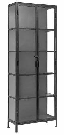 Vitrineskab i jern - 214x80 - sort - 8995 kr