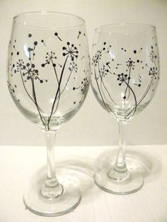 Hand Painted Wine Glasses Dandelion by TheScarletLine on Etsy