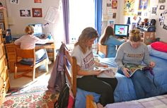 Student relaxing in the residence hall