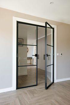 Glass Internal Doors, Internal Double Doors, Double Glass Doors, Double Doors Interior, Interior Windows, Interior Glass Doors, Modern Interior Doors, Steel Doors And Windows, Black Windows
