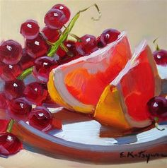 """Grapefruit and Grapes"" - Original Fine Art for Sale - © Elena Katsyura"