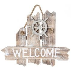 "All aboard! Welcome your guests in true seafaring style with this Nautical Welcome Wood Wall Plaque!    	This adorable plaque features tattered white washed wood planks, a jute rope hanger, a distressed beige ship wheel accent, and the word, ""Welcome,"" in painted white text.    	Simple yet fun, this nautically-inspired piece will add the perfect coastal touch to your home or office décor.    	Dimensions:    	  		Length: 10 3/4""  	  		Width: 13""  	  		Thickness: 1 3/8"""
