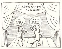 """The situation determines the roles we play and the rules we follow. Gorgeous illustration of Goffman's interactionist theory! This theory likens social interaction as a play - socialisation teaches us (""""actors"""") how to behave according to our culture's norms (""""roles""""). We have acceptable public behaviour (""""front stage work""""). We have our private behaviour (""""backstage work""""). This involves all the work we do to maintain our families, identities and other core values."""