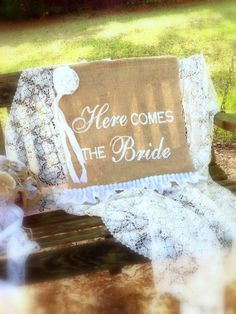 """""""NEW"""" Shabby Here Comes the Bride Sign,  Rustic Muslin Ruffles & Rose, Ivory or White, by LollysCubbyHole"""