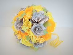 Paper Flower Bouquet  Bookpage and Yellow by FlowersFromTheGarden, $120.00 want it!