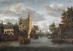 Jacobus Storck (Amsterdam 1641-1692) A view of the river Oude Rijn in Alphen aan den Rijn, with an elegant company in a yacht and other figures strolling along the river and on boats