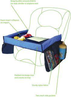 Handig tafeltje om ervoor te zorgen dat speelgoed niet zo snel meer op de grond valt en om lekker te spelen, eten en drinken in de auto...