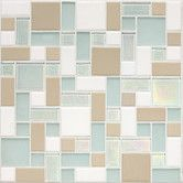 "Found it at Wayfair - Keystones Blends 12"" x 12"" Block Random Porcelain with Oceanside Glass Mosaic Tile in Trade Wind"