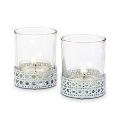 Match your summer style with this pair of glass cups encased in metal holders with a decorative woven cane design.