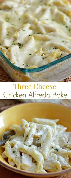 Three Cheese Chicken Alfredo Bake - A delicious pasta bake with chicken, Alfredo sauce and lots of cheese! Three Cheese Chicken Alfredo Bake - A delicious pasta bake with chicken, Alfredo sauce and lots of cheese! I Love Food, Good Food, Yummy Food, Pasta Dishes, Food Dishes, Dinner Dishes, Main Dishes, Great Recipes, Favorite Recipes