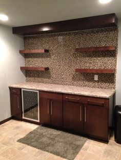 Finished walkup basement bar.