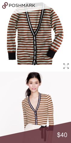 J. Crew stripe gauze cardigan! NWOT. J. Crew gauze stripe cardigan. Size XXS. 70% cotton 30% nylon. 3/4 sleeves. True to size. So cute! Smoke free clean home. Any questions lmk! J. Crew Sweaters Cardigans
