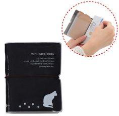 【ねこや】上から出し入れ【 楽チン! 32枚 収納 カードケース ホルダー ファイル 】(全10色) 定期入れ 診察券 クレジット ポイント キャッシュ カード 縦に 収納 するので探し易い! コンパクト 大容量(ブラック)