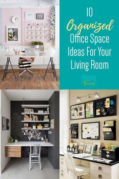 Home Office In The Living Room - Functional Home Office Spaces For Apartment Living - 10 Creative Living Room Office Space Ideas Creative Office Space, Home Office Space, Office Spaces, Declutter Your Home, Organizing Your Home, Organizing Clutter, Organization Ideas, Small Space Organization, Home Office Organization