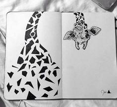beautiful giraffe in my moleskine .- beautiful giraffe in my moleskine Kunstjournal Inspiration, Art Journal Inspiration, Art Inspo, Giraffe Drawing, Giraffe Art, Panda Drawing, Stylo Art, Paintings Tumblr, Pen Art