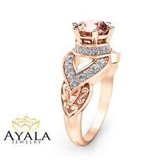 Peach Pink Morganite Engagement Ring Unique 14K by AyalaDiamonds