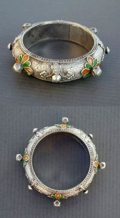 """Africa   Antique small silver and enamel Berber bracelet from Western Anti-Atlas, in South Morocco. Tiznit or Tafraout region.   ca. 1st half 20th century    See similar sample in """" Bijoux du Maroc """" by Jacques and Marie-Rose Rabaté, p. 59 and in the Ghysel's Collection in """" A World of Bracelets """", by Anne van Cutsem, p. 23.   160$"""