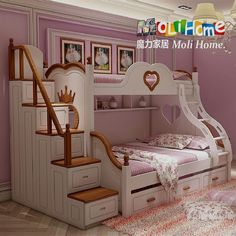 Youngsters Bedroom Furnishings – Bunk Beds for Kids Modern Bunk Beds, Cool Bunk Beds, Bunk Beds With Stairs, White Bunk Beds, Bunk Beds For Girls Room, Kids Bunk Beds, Girls Bedroom, Bedrooms, Fancy Bedroom