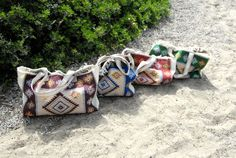 Unique Sea Rug Bags designed for your needs and style in the beach!  A handmade bag!  Its a hippie Tranditional rug bag.  Approximate