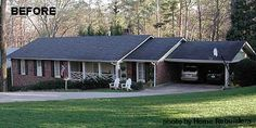 attractive ranch style home without a porch