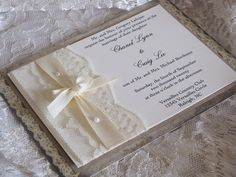 SALE - Lace Wedding Invitations, French Market Elegant, Shabby Chic, Vintage Inspired, Haute Couture Invitations