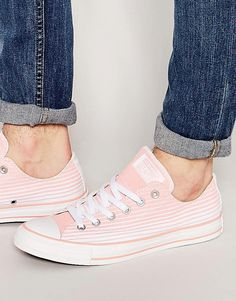 Image 1 ofConverse Chuck Taylor All Star Stripe Canvas Plimsolls In Pink 151189C
