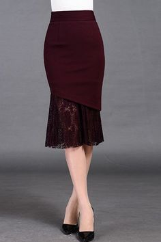 $64.99 Burgundy Mermaid Midi Skirt
