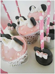 Pink and black treats at a Minnie Mouse birthday party! See more party ideas at CatchMyParty.com!