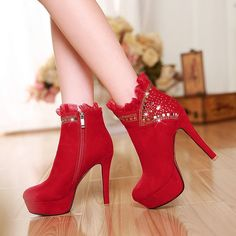 110.99$  Watch here - http://aliaex.worldwells.pw/go.php?t=32731516114 - 2016 New design Gladiator sweet thin High Heel platform Ankle Boots For Women winter lace wedding snow Boots high quality