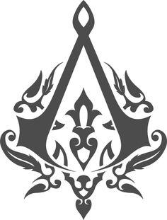 Assassins Creed -game room stencil idea
