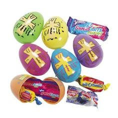Candy-Filled Bright Religious Print Eggs - Sunday School & Party Supplies by Oriental Trading Company -- Awesome products selected by Anna Churchill