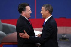 This image was from their first debate when they went out to greet each other and shook hands. To me this was such a fake and over dramatized gesture that these competitors had to do. Even their smiles are forced and fake.