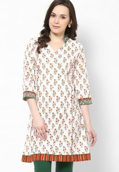 Cotton White Embroidered Kurta Online Shopping - Jaipur Kurti | JA715WA58PXTINDFAS (1/2 collar)