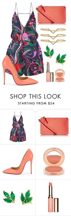 """Pick Your Color"" by perichaze ❤ liked on Polyvore featuring Emilio Pucci, Kate Spade, Christian Louboutin, Paul & Joe, Finn, Clarins, Elizabeth and James, women's clothing, women and female"