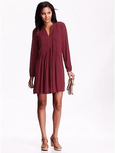 Women's Long-Sleeve Shift Dress. I would wear it with leggings and boots for Fall.