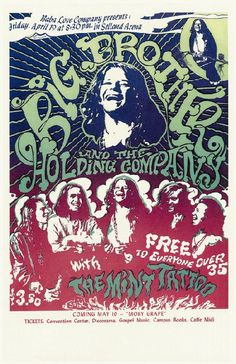 Reprint concert poster for Janis Joplin / Big Brother & the Holding Company at Selland Arena in Fresno, CA in 1969. 11 x 17 on card stock. High quality reprint.