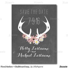 Floral Antlers + Chalkboard Floral Flowers Wedding Save The Date Invitation Announcement Postcard