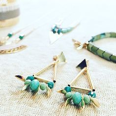 Go green! Thanks @nyacklyon for this wonderful pic of these gold and green bead earrings by Shlomit Ofir
